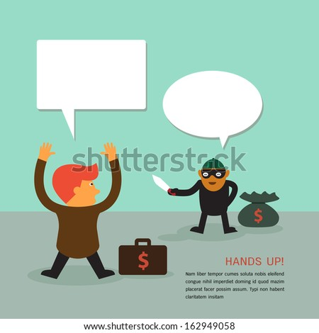 Young businessman was rob by robber a vector concept - stock vector
