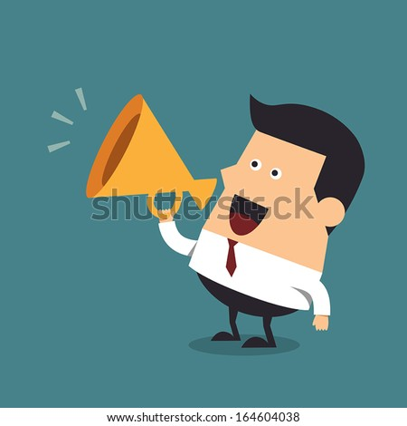 Young businessman with a megaphone, Business concept - stock vector