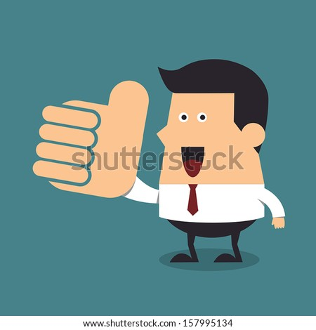 Young businessman with big thumb up, Business concept - stock vector