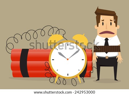 Young businessman  with binding time bomb, Business concept.vector - stock vector