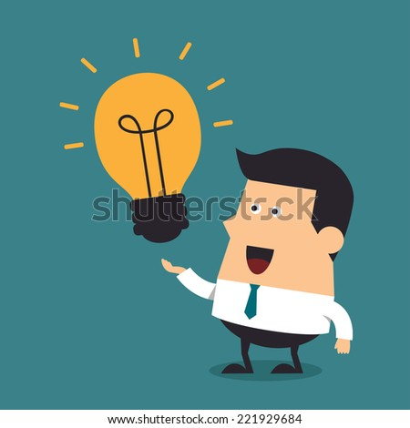 Young businessman with light bulbs, Idea concept - stock vector