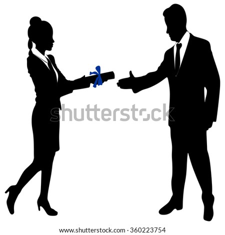 Young Businesswoman holds up her certificate while Business man extending hand to shake - stock vector