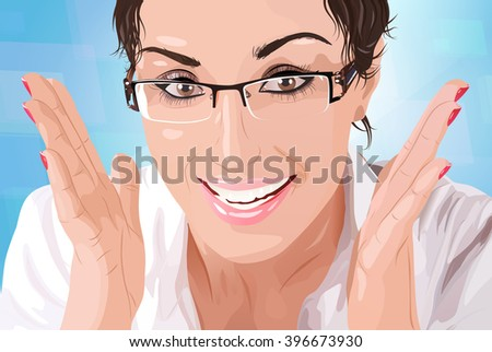 Young businesswoman in eyeglasses portrait - stock vector