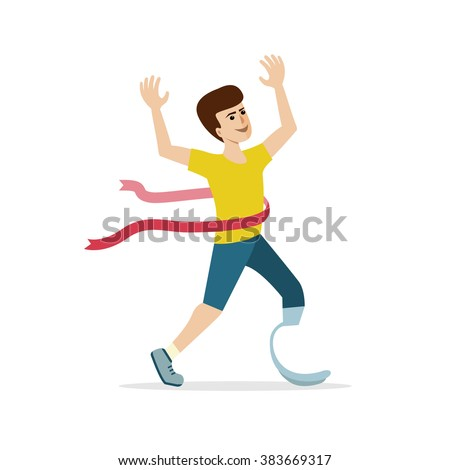 Young caucasian athlete with handicap wins the competition. Disabled sportsman with amputee crossing the finish line. Flat design. Concept for sport, summer paralympic games, recovery.