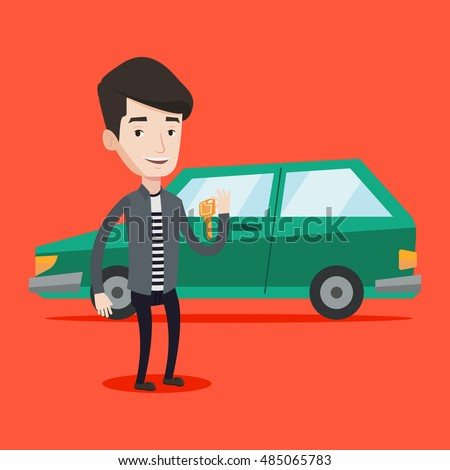 Young caucasian man holding keys to his new car. Happy man showing key to his new car. Smiling man standing on the backgrond of his new car. Vector flat design illustration. Square layout.