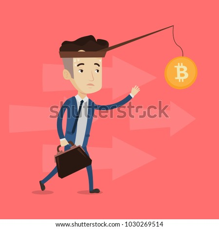 Young caucasian white businessman motivated by golden bitcoin coin hanging on a fishing rod. Blockchain network technology and cryptocurrency tokens concept. Vector cartoon illustration. Square layout