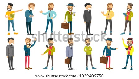 Young caucasian white businessman set. Businessman signing business papers, using mobile phone, listening to music with headphones. Set of vector cartoon illustrations isolated on white background.