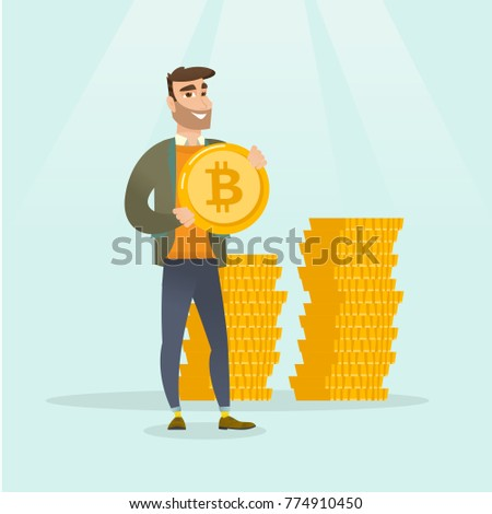 Young caucasian white successful businessman holding a golden bitcoin coin on the background of stacks of tokens. Blockchain network technology, ICO and cryptocurrency concept. Vector illustration.