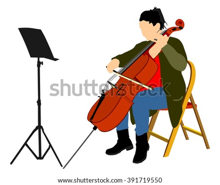 Young cellist vector siting and playing cello on white background.