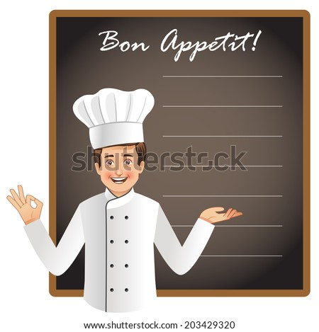 Young chef with a blank blackboard to list today's menu or chef's special menu. This is a vector file with NO transparencies. Similar occupation vectors in my portfolio. - stock vector