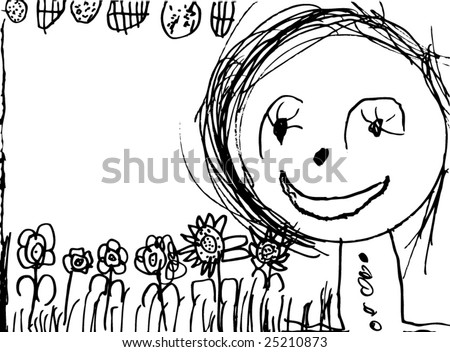 young child drawing 4 years old - stock vector