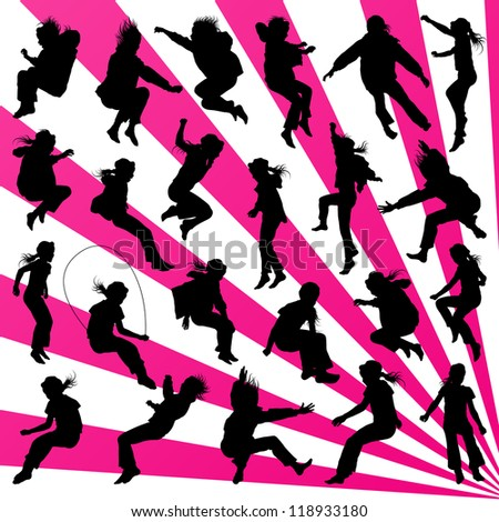 Young children illustration collection silhouettes jumping in the air background vector - stock vector