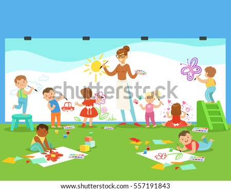 young children in art class drawing and painting with teacher in a nursery school - Children Drawing Pictures For Painting