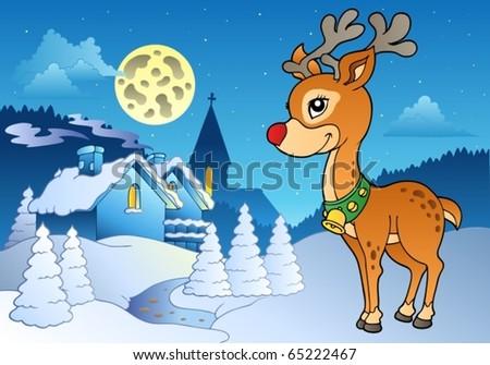 young christmas reindeer outdoor 2 vector illustration - Christmas Reindeer 2