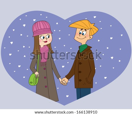 Young couple at the heart-shape background - stock vector