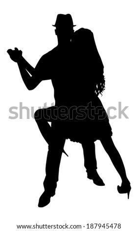 Young couple dancing tango, vector - stock vector