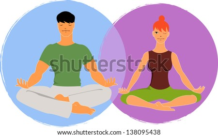 Young couple doing yoga, meditating in lotus position, the woman peeking at her partner. Vector illustration, no transparencies. - stock vector