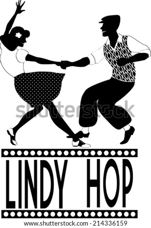 Young couple dressed in late 1940s style clothes dancing lindy hop black vector silhouette