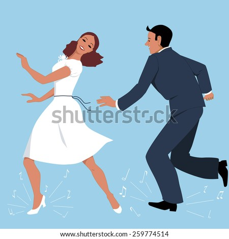 Young couple dressed in vintage fashion step-dancing, music notes flying from under their feet, vector illustration, no transparencies, EPS 8 - stock vector