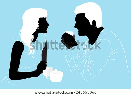 Young couple enjoys a hot tea in the cafe, silhouettes - stock vector