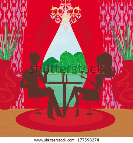 Young couple flirt and drink champagne in the elegant restaurant - stock vector