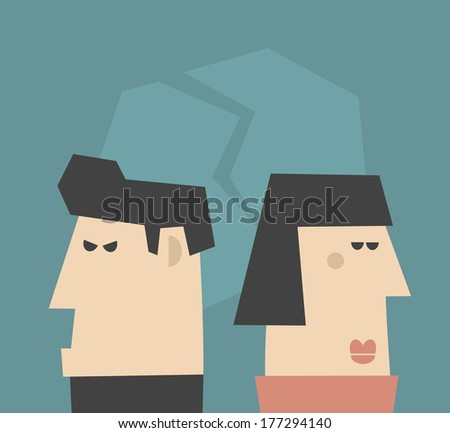 Young couple  having relationship problems. Vector illustration, - stock vector