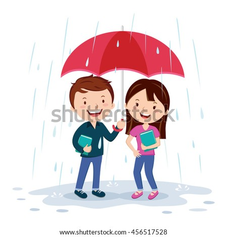 Young couple holding umbrella. Vector illustration of a young man and woman holding an umbrella in the rain. - stock vector