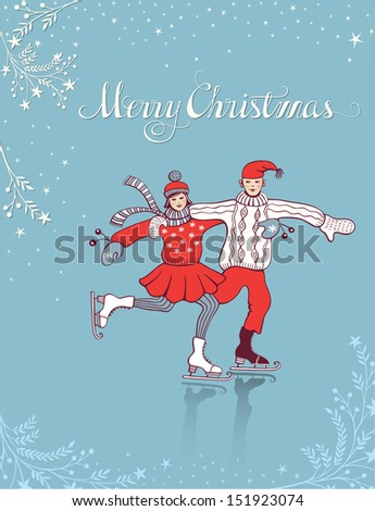 Young couple ice skating on christmas background