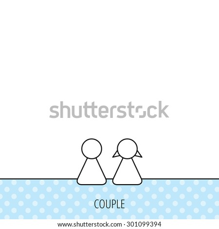 Young couple icon. Male and female sign. Circles seamless pattern. Background with icon. Vector - stock vector