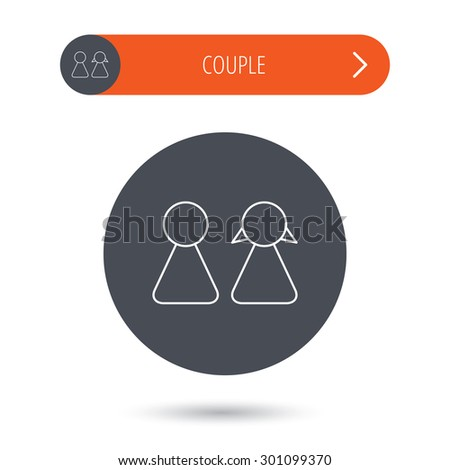 Young couple icon. Male and female sign. Gray flat circle button. Orange button with arrow. Vector - stock vector