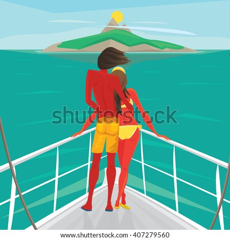 Young couple in love standing on the front of the boat deck and looks at an island in the distance. View from the back - Cruise or sea voyage concept. Vector illustration - stock vector