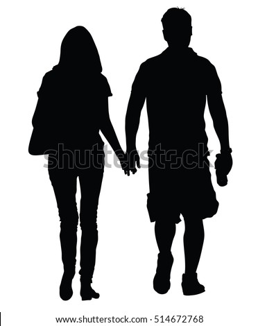 young couple in love vector silhouette illustration walking around and holding hands vector happy couple