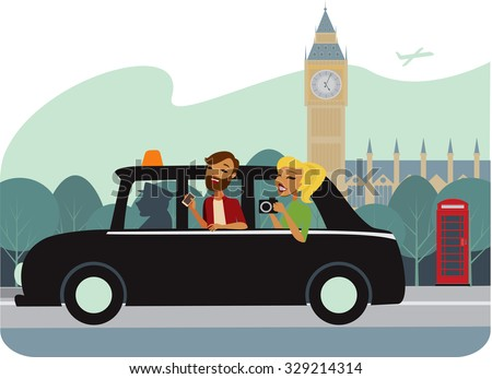 Young couple in traditional london cab vector illustration - stock vector