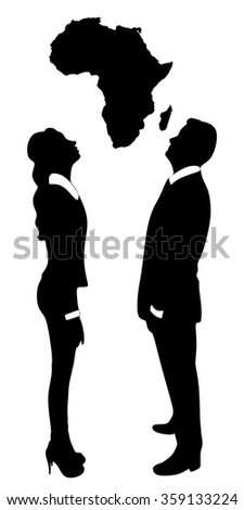 young couple looking up map of africa - stock vector