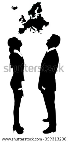 young couple looking up map of Europe - stock vector