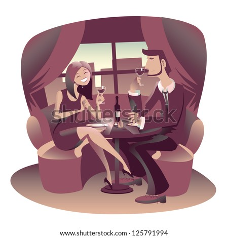 Young couple of lovers have a romantic dinner at restaurant - stock vector