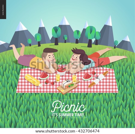 Young couple on picnic template - flat cartoon vector illustration of woman and man laying down on checkered plaid in landscape with mountains and trees, and field of grass on the foreground - stock vector