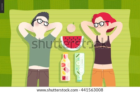 Young couple on picnic, top view - flat cartoon vector illustration of woman and man laying down on striped green plaid on green grass, bottles with fruit water, cucumber water, watermelon and peach - stock vector