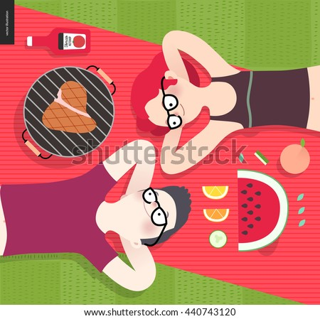 Young couple on picnic, top view,vegetarian vs meat eater - flat cartoon vector illustration of woman and man laying down on red plaid on green grass, with vegetarian and meat meal - stock vector