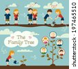 Young couple planting the family tree. Flat design concept - stock photo
