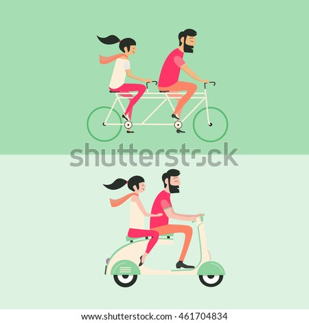 Young couple riding bicycle and motorbike set