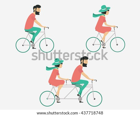 Young couple riding bicycle set. Summer travel - stock vector
