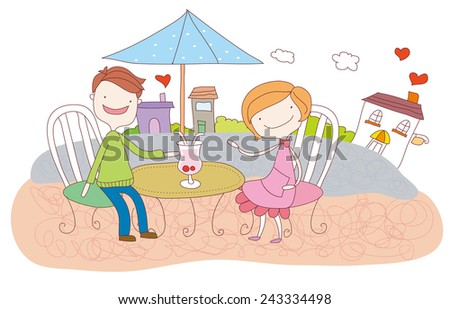 Young couple sitting outdoors on a Valentine's day. couple in love. - stock vector