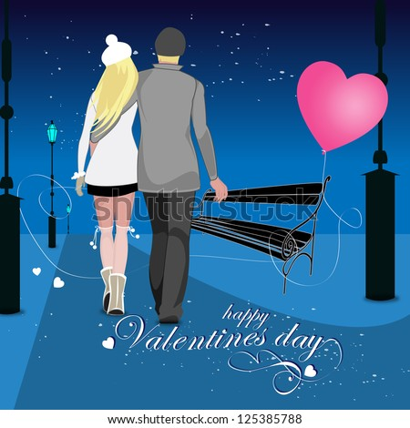 Young Couple Walking On Valentine's Day - Vector Illustration, Graphic Design Editable For Your Design - stock vector