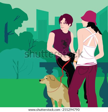 Young couple with dog in park - stock vector