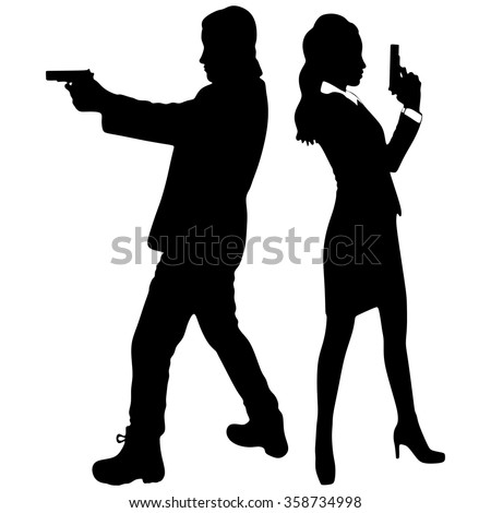 young couple with handguns