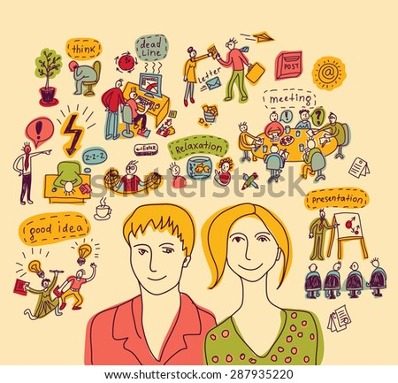 Young creative business couple color Portrait of unrecognizable young creative working couple with objects and icons. Color vector illustration. - stock vector
