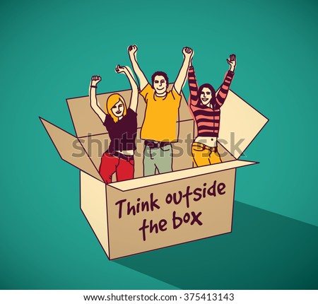 Young creative people group team in box color and flat shadow. Color vector illustration. EPS10