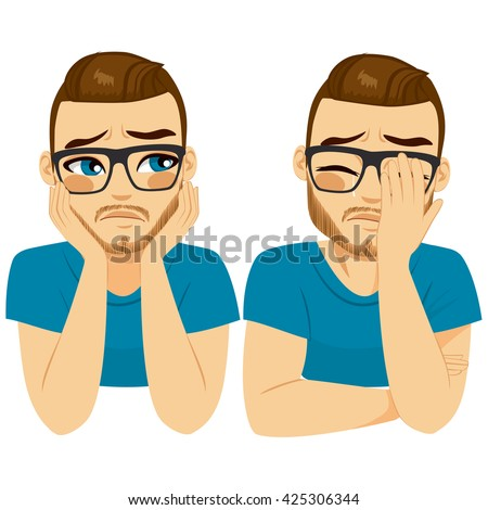 Young crying sad man on two different face expressions - stock vector