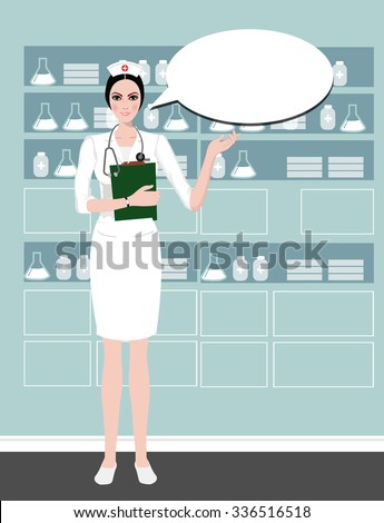 young cute Nurse providing information with a smile on a speech bubble background.Health care, Nurse hat, Cartoon Nurse. isolated on white. Clipping mask is used in the EPS file. - stock vector